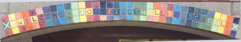 Mosaic above school front door